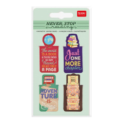 NEVER STOP READING - SET OF MAGNETICBOOKMARKS - TRAVEL